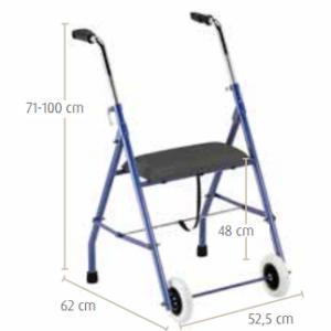 Andador de acero regulable y plegable, asiento con poca altura -0