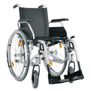 Silla de ruedas en acero plegable y autopropulsable-0