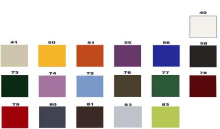 Muestra de colores de camilla