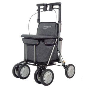 andador lett 900 con asiento y carro para la compra gris