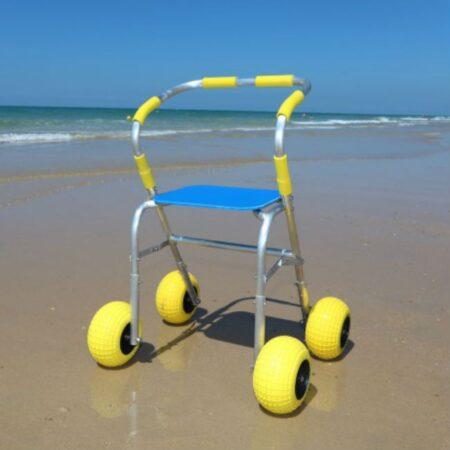 Andador para la playa asiento desplegado