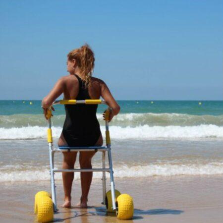 Andador para la playa uso