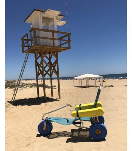 Silla anfibia de playa Oceanic vista lateral