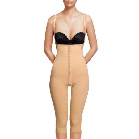 faja voe post liposuccion por debajo de rodillas y abdomen con refuerzos y cierre de corchetes